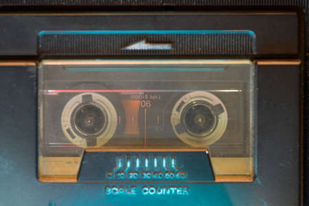 playing vintage music deck with focus on cassette Stok Fotoğraf