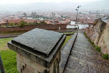 straight stone pathway in Cusco city in Peru