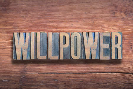 willpower word combined on vintage varnished wooden surface Stok Fotoğraf