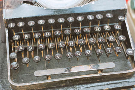 focus on vintage typewriter push buttons with German alphabet Stok Fotoğraf