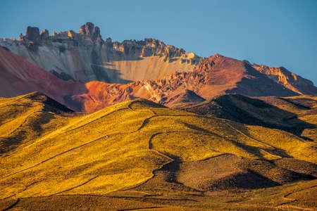 bright sunny evening at Tunupa volcano in Bolivia