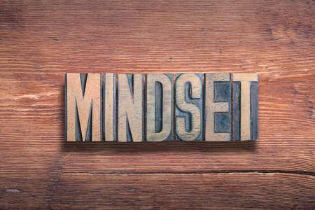 mindset word combined on vintage varnished wooden surface