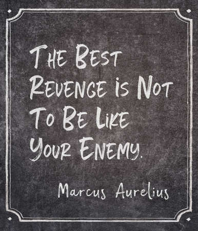 The best revenge is not to be like your enemy - ancient Roman emperor and Stoic philosopher Marcus Aurelius quote written on framed chalkboard Archivio Fotografico - 155128345