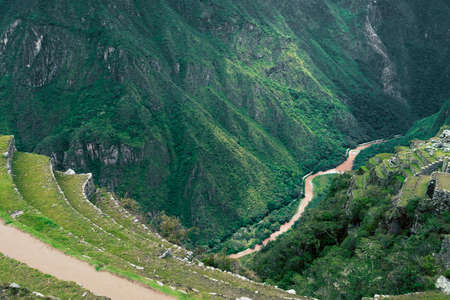 Urubamba river valley viewed from ancient terraces of MachuPicchu site in Peru Stok Fotoğraf