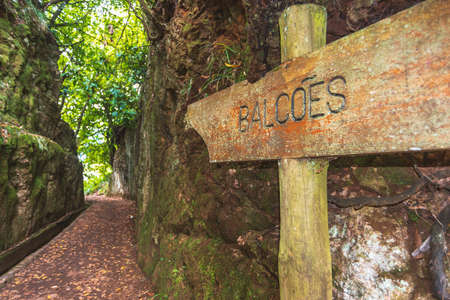 wooden sign board with direction to famous Balcoes levada at Madeira Island, Portugal