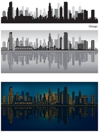 city skyline night: Chicago skyline illustration with reflection in water