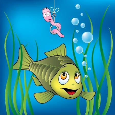 pez pecera: Funny Fish y el gusano de miedo