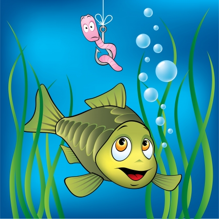 vis: Grappige vis en bang worm Stock Illustratie