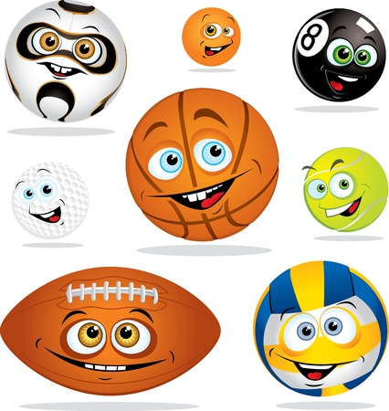sport cartoon: Funny cartoon balls