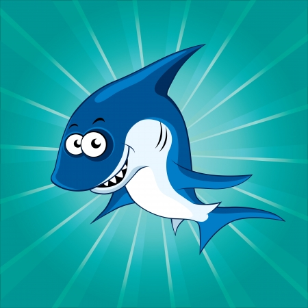 Funny cartoon shark on the blue background Vector