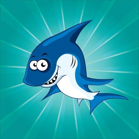 tiburon caricatura: Tibur�n divertido de la historieta en el fondo azul