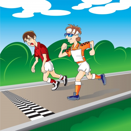 tired cartoon: marathon runners at the finish Illustration