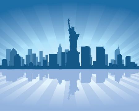 reflejo en el agua: Horizonte de Nueva York, con reflejo en el agua