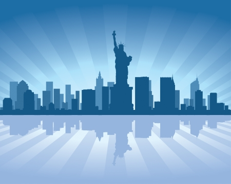 reflectie water: New York skyline met reflectie in het water