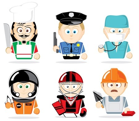 Funny illustration of famous professions Stock Vector - 11178057