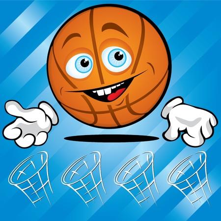 Drôle de basket-ball souriant sur fond bleu Vecteurs