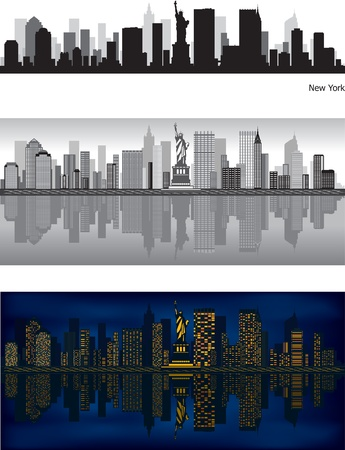 grey sky: New York skyline with reflection in water Illustration