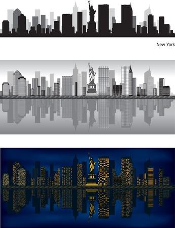 tag und nacht: Skyline von New York mit Reflexion in Wasser