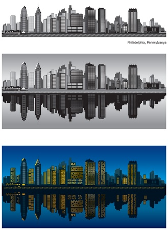 Philadelphia skyline with reflection in water Vector