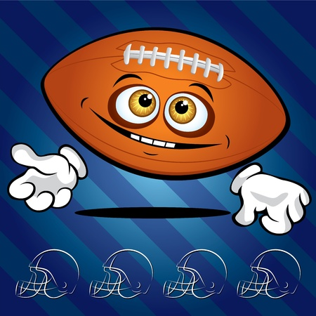 hand glove: Funny smiling football ball on the dark blue background Illustration