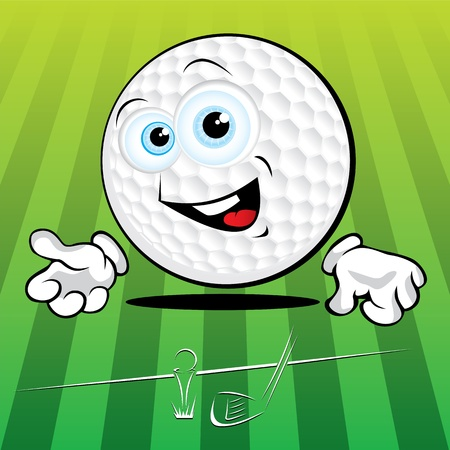 golf cartoon characters: Funny smiling golf ball on the green background Illustration