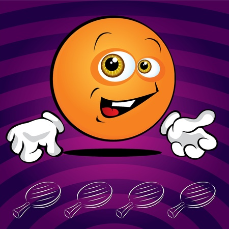 Funny smiling ping pong ball on the violet background Stock Vector - 11298566