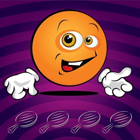 pelota caricatura: Mesa de ping pong divertido sonriente pelota en el fondo violeta