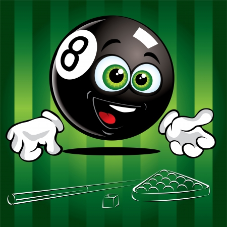 pool ball: Funny smiling pool ball on the green background