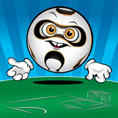 Funny smiling soccer ball on the bluegreen background Vector