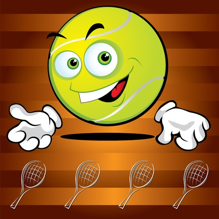 broun: Funny smiling tennis ball on the broun background
