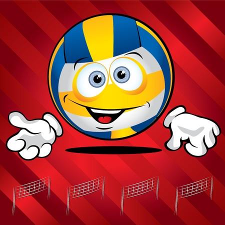 ballon volley: Dr�le de volley-ball souriant sur fond rouge