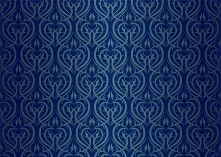 Seamless wallpaper pattern silver blue Stock Vector - 11298574