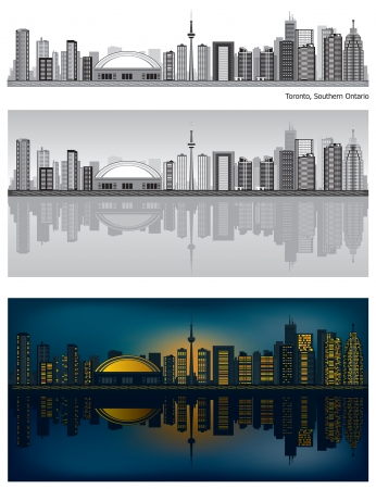 Toronto skyline with reflection in water Stock Vector - 11298579