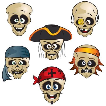 evil face: The funny pirate skull illustration