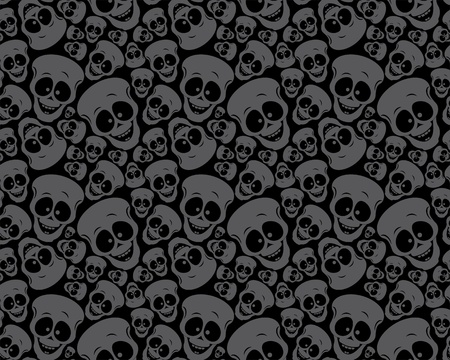 Wallpaper pattern funny skulls Vector