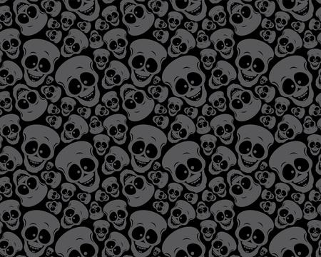 halloween skeleton: Wallpaper pattern funny skulls Illustration