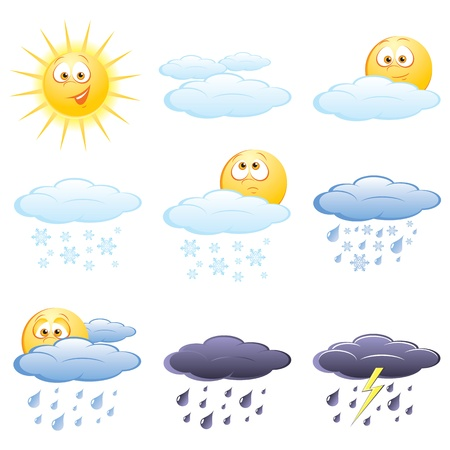 partly: Set of the weather icons Illustration