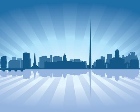 ireland cities: Dublin, Ireland  skyline illustration with reflection in water Illustration