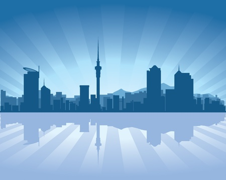 Auckland skyline with reflection in water Stock Vector - 11298557
