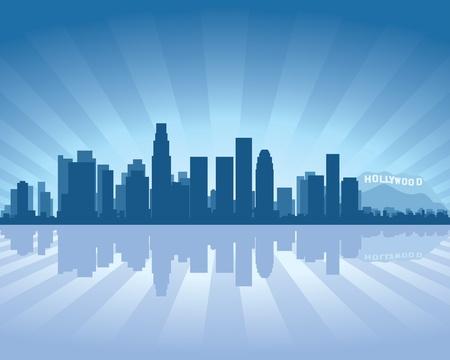 reflectie water: Los Angeles skyline met reflectie in het water