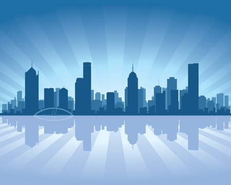 cityscape silhouette: Melbourne skyline with reflection in water