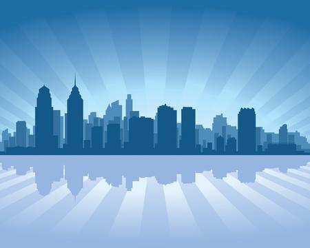 philadelphia: Philadelphia skyline with reflection in water