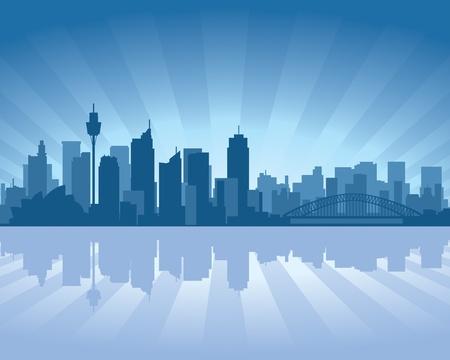 시드니, 물에 반사와 호주의 스카이 라인 그림 일러스트