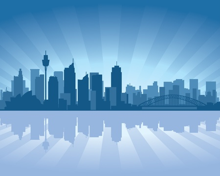 Sydney, Australia skyline illustration with reflection in water Stock Vector - 11298560