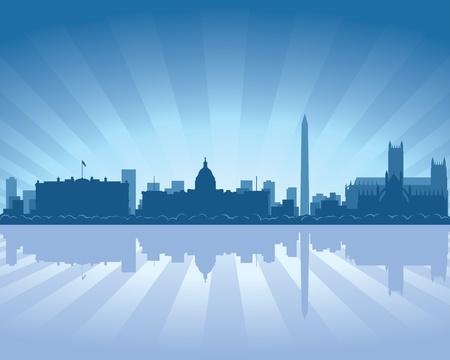 reflectie water: Washington skyline met reflectie in het water Stock Illustratie