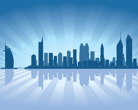 Dubai skyline with reflection in water Stock Vector - 11298555