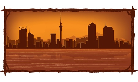 sky scraper: Auckland skyline with reflection in water
