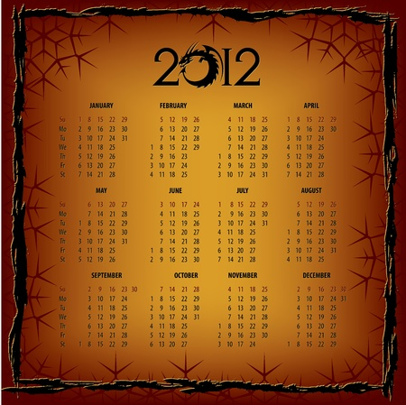 New Years calendar 2012 Stock Vector - 11938824