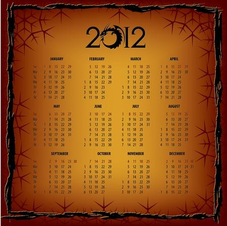New Years calendar 2012 Stock Vector - 11938824