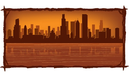 chicago skyline: Chicago skyline with reflection in water Illustration